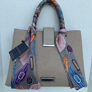 Adrienne Vittadini Luxury Large Scarf Bag Satchel